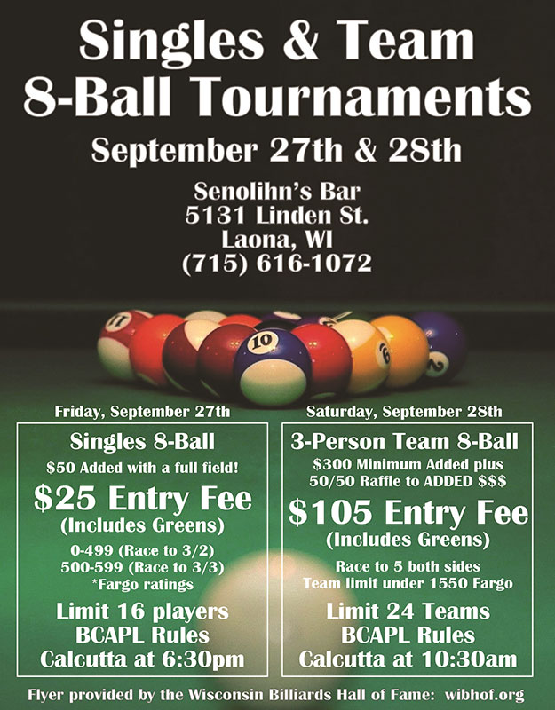 Tournaments - Wisconsin Billiards Hall of Fame